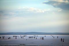 Folk som går på sjön Tuz, Turkiet Royaltyfri Bild