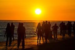 Folk som går på strand på solnedgång royaltyfri fotografi