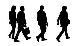 Folk som går utomhus- konturuppsättning 1 royaltyfri illustrationer