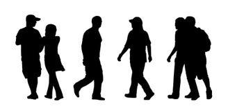 Folk som går utomhus- konturuppsättning 4 stock illustrationer