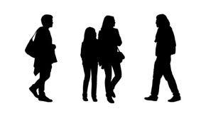 Folk som går utomhus- konturuppsättning 11 royaltyfri illustrationer