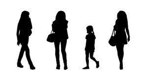 Folk som går utomhus- konturuppsättning 18 royaltyfri illustrationer