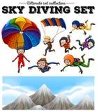 Folk som gör himmeldykning och bergplats royaltyfri illustrationer