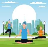 Folk som gör yoga stock illustrationer