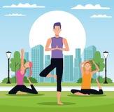 Folk som gör yoga vektor illustrationer
