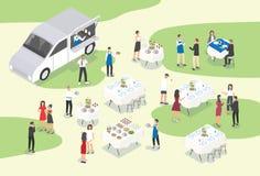 Folk som ger att sköta om på den formella händelsen eller tillfället Grupp av arbetare för matservice som ställer in tabeller som royaltyfri illustrationer