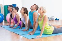 Folk som gör yogaelasticitet i idrottshallgrupp Royaltyfri Fotografi