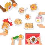 Folk som har frukostmorgonmål samman med olika uppsättningar av drinkar och mattecknad filmillustrationen vektor illustrationer