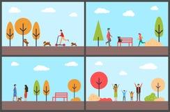 Folk som har gyckel i Autumn Park, familjdagar royaltyfri illustrationer