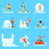 Folk som har gyckel i insnöad vintersamling av illustrationer Arkivfoto