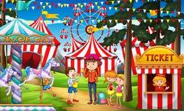 Folk som har gyckel på cirkusen vektor illustrationer