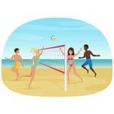 Folk som har gyckel som spelar volleyboll på strandvektorillustrationen Aktiv seabeachsport vektor illustrationer