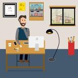 Folk som hemma arbetar som en freelancer eller ett avlägset arbete stock illustrationer