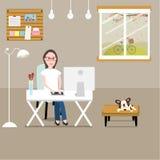 Folk som hemma arbetar som en freelancer eller ett avlägset arbete illustrati stock illustrationer