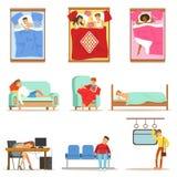 Folk som hemma sover i olika positioner och på arbete, trötta tecken som får sova serie av illustrationer Arkivbild