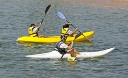 Folk som kayaking på stranden Arkivbild