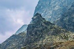 Folk som klättrar till överkanten av berget royaltyfria bilder