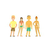 Folk som kopplar av på stranden Vektoruppsättning av tecken i en plan stil Folk i baddräkter Royaltyfri Bild