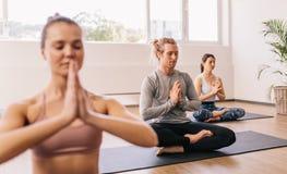 Folk som mediterar i yogagrupp arkivbilder