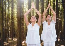 Folk som mediterar yoga i skog Fotografering för Bildbyråer