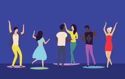 Folk som på flyttar Dance Floor, nattklubbvektor royaltyfri illustrationer