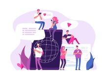 Folk som pratar direktanslutet Det globala anslutningsmassmedia pratar marknadsföring för forum för pratstund för vän för diskuss royaltyfri illustrationer