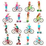 Folk som rider Hoverboard, cykelvektor Stadscykel Aktivitet för utomhus- sport Gyroskopsparkcykel activatoren Två-hjul elkraft stock illustrationer