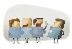 Folk som rymmer stycken av en figursåg vektor illustrationer