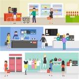 Folk som shoppar i supermarket, köpande produkt i kläder, elektronik och livsmedelsbutik stock illustrationer