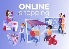 Folk som shoppar online-tecknad filmvektorbegrepp vektor illustrationer