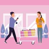 Folk som shoppar på gallerian vektor illustrationer