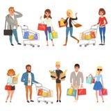 Folk som shoppar uppsättningen Plana tecknad filmtecken i supermarket med shoppingvagnar och pappers- påsar med mat vektor stock illustrationer