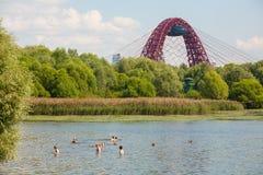 Folk som simmar i den Moskva floden Arkivbilder