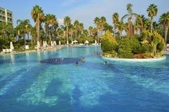 Folk som simmar i den stora pölen i turkiskt hotell Royaltyfria Bilder