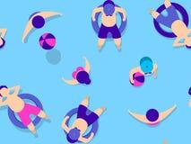 Folk som simmar i pölmodell Arkivbild