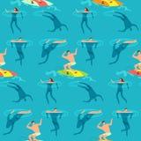 Folk som simmar och dyker havet Sommartid på modell för vektor för exotisk tappning för strand sömlös Arkivbilder