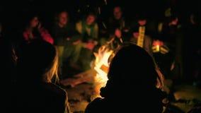 Folk som sitter fast musik runt om en brand arkivfilmer