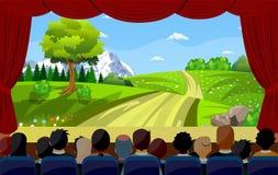 Folk som sitter i för filmbaksida för bio hållande ögonen på baksida vektor illustrationer