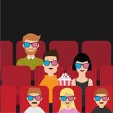 Folk som sitter i filmbiografen som äter popcorn Älska par, ungar, mannen, barn royaltyfri illustrationer