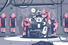 Folk som slavar det robotic framstickandet royaltyfri illustrationer
