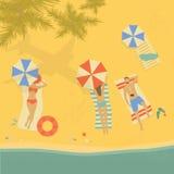 Folk som solbadar på stranden vektor illustrationer