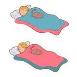 Folk som sover med katten Royaltyfri Foto