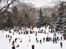 Folk som spelar i den insnöade Central Park Arkivfoto