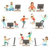 Folk som spelar videospel med den tekniskt avancerade teknologisamlingen av lyckliga tecknad filmtecken stock illustrationer