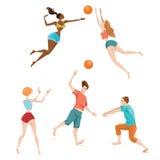 Folk som spelar volleyboll Royaltyfri Fotografi