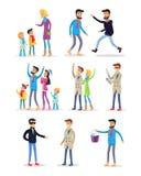 Folk som spenderar ferier och firar nytt år vektor illustrationer