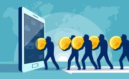 Folk som spenderar pengar i internet vektor illustrationer