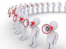 Folk som talar till och med megafoner Royaltyfria Foton