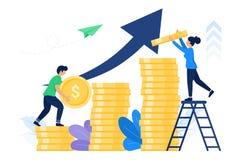 Folk som tillsammans arbetar för att trava upp myntpengar royaltyfri illustrationer