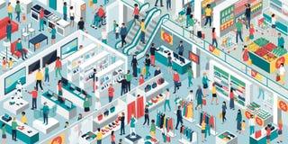 Folk som tillsammans shoppar på shoppinggallerian stock illustrationer